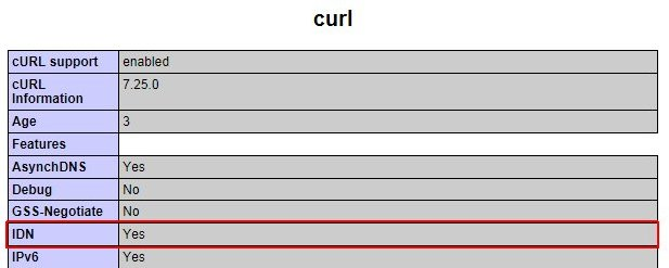 cURL phpinfo()